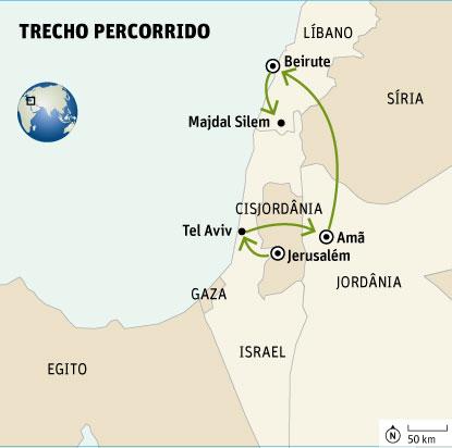 Trajeto percorrido entre Jerusalém e Majdal Silem