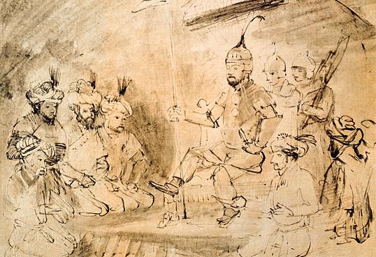 O historiador Ibn Khaldun pede a Tamerlão que não destrua Damasco. Ilustração Rembrandt Harmensz