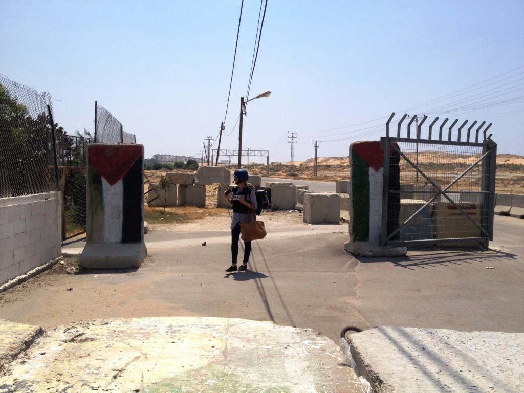 Antigo checkpoint do Hamas na entrada de Gaza, hoje abandonado. Crédito Diogo Bercito/Folhapress
