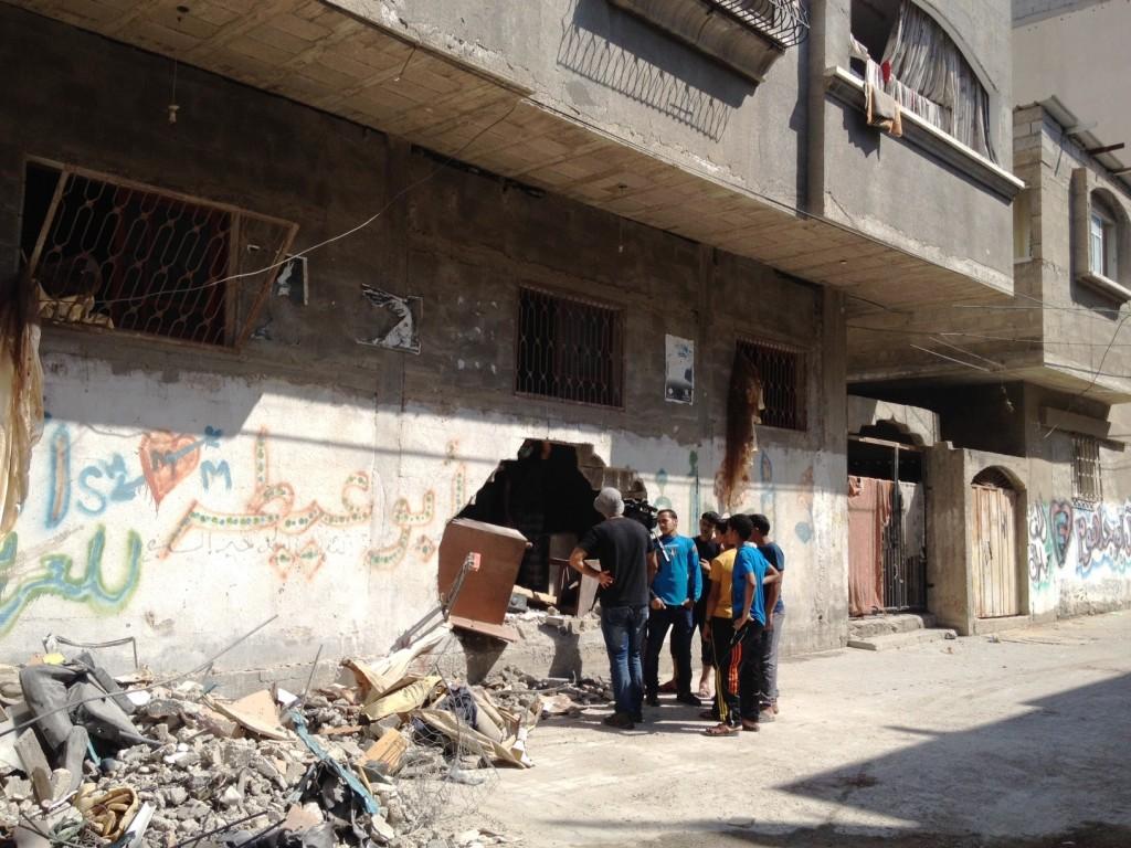 Casa destruída em Jabaliya, Gaza. Crédito Diogo Bercito/Folhapress