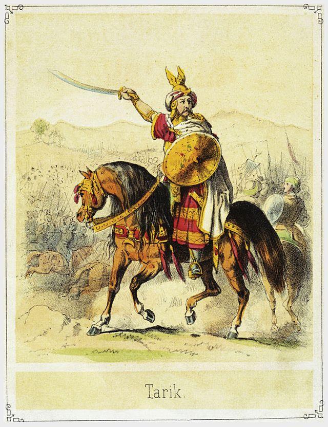Tariq ibn Ziyad, em gravura de Theodor Hosemann, séc 19.