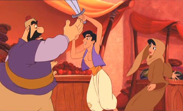 Aladdin defende Jasmine da aplicação da lei islâmica em Agrabah. Crédito Reprodução