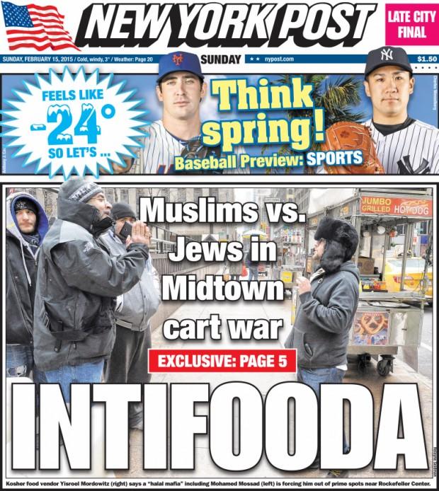 """Capa do """"New York Post"""". Crédito Reprodução."""