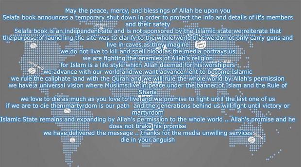 Mensagem no site 5elafabook. Crédito Reprodução