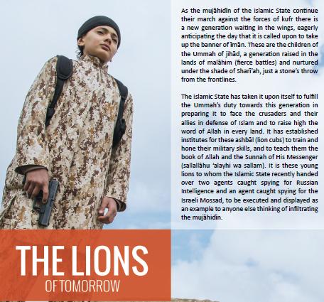 """Trecho de reportagem na revista """"Dabiq"""" sobre as crianças-soldado do Estado Islâmico. Crédito Reprodução"""