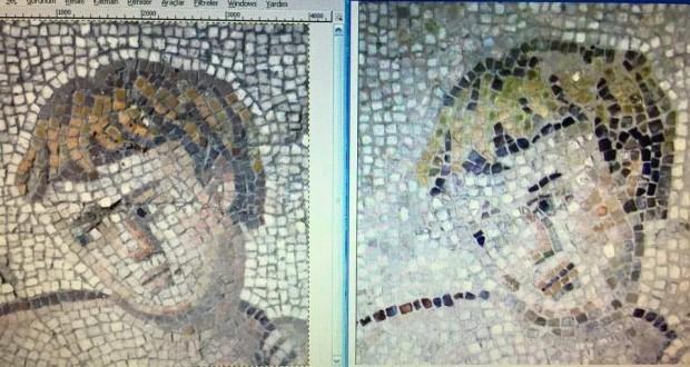 Mosaicos alterados por restauração, na Turquia. Crédito Reprodução