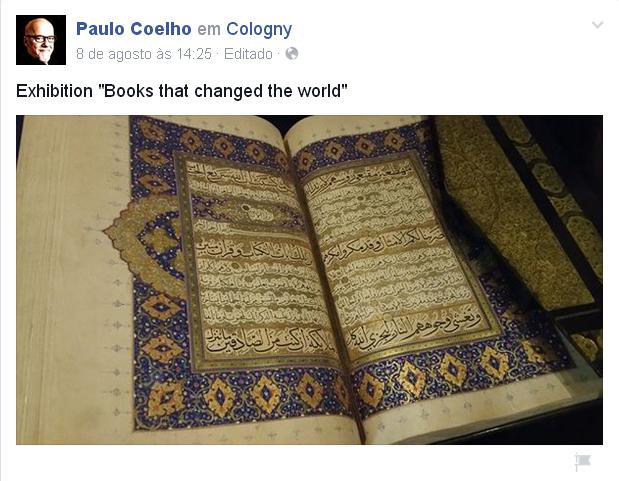 Publicação de Paulo Coelho no Facebook.