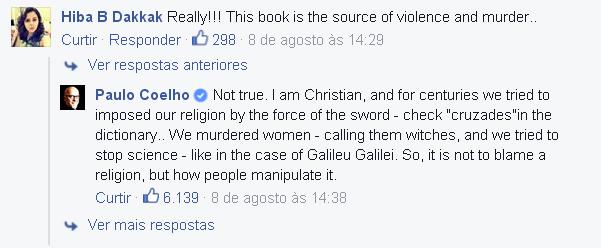 Reprodução do Facebook do escritor Paulo Coelho.