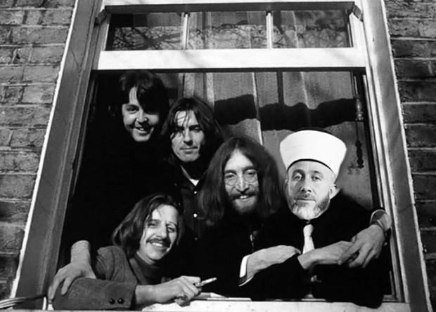 Grão-Mufti de Jerusalém entre integrantes dos Beatles. Crédito Reprodução/972mag