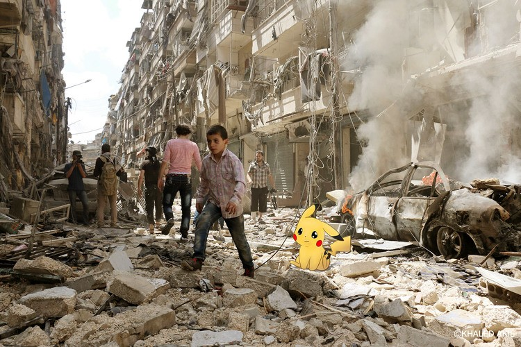 """""""Pokémons vão a Aleppo"""", por Khaled Akil. Crédito Reprodução"""
